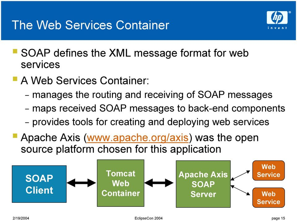 back-end components provides tools for creating and deploying web services! Apache Axis (www.apache.