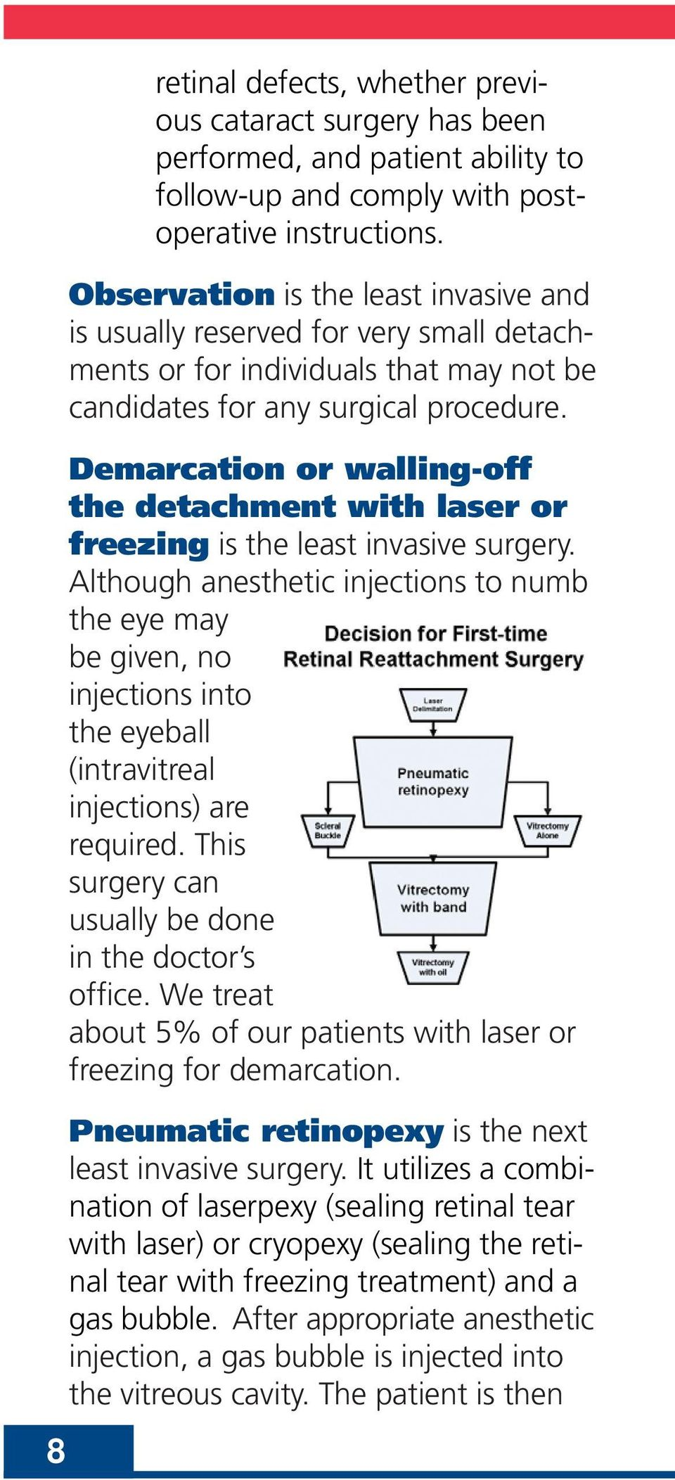 Demarcation or walling-off the detachment with laser or freezing is the least invasive surgery.