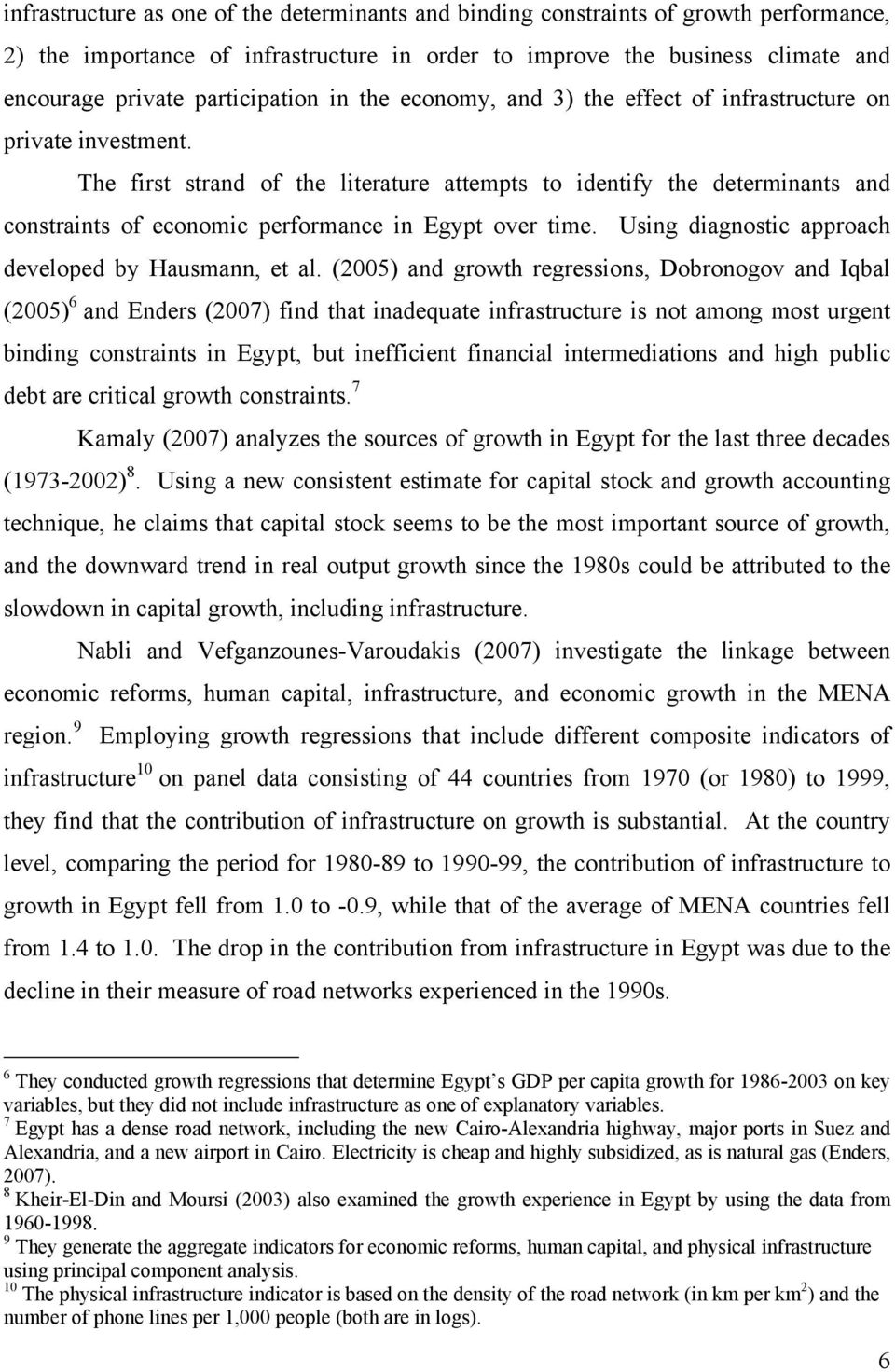 The first strand of the literature attempts to identify the determinants and constraints of economic performance in Egypt over time. Using diagnostic approach developed by Hausmann, et al.