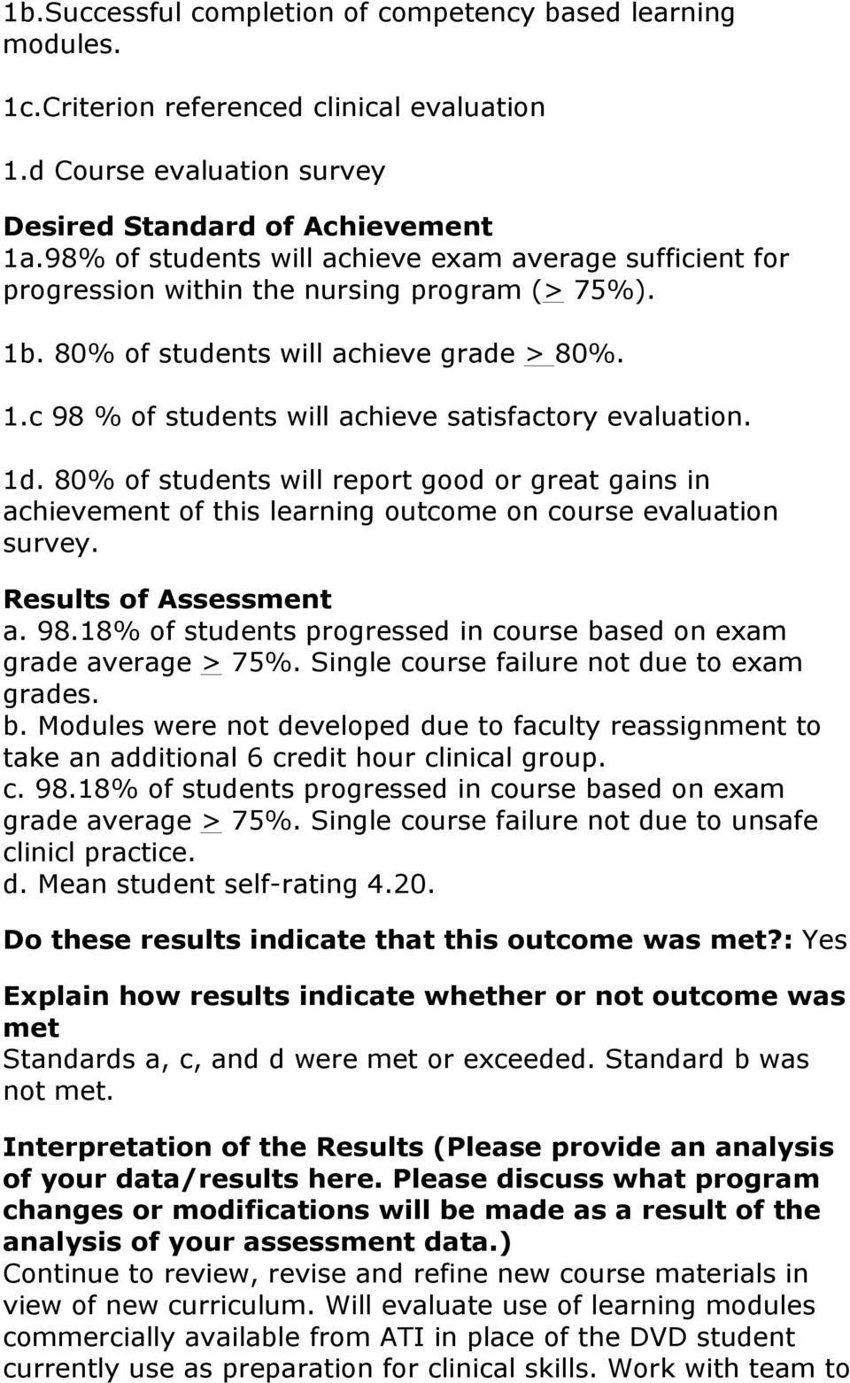 1d. 80% of students will report good or great gains in achievement of this learning outcome on course evaluation survey. a. 98.18% of students progressed in course based on exam grade average > 75%.