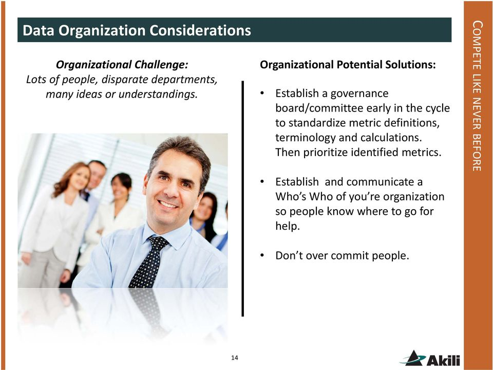 Organizational Potential Solutions: Establish a governance board/committee early in the cycle to standardize