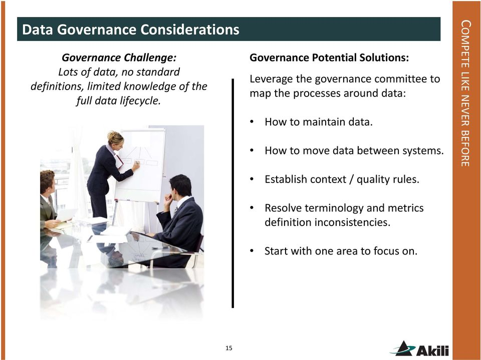 Governance Potential Solutions: Leverage the governance committee to map the processes around data: How