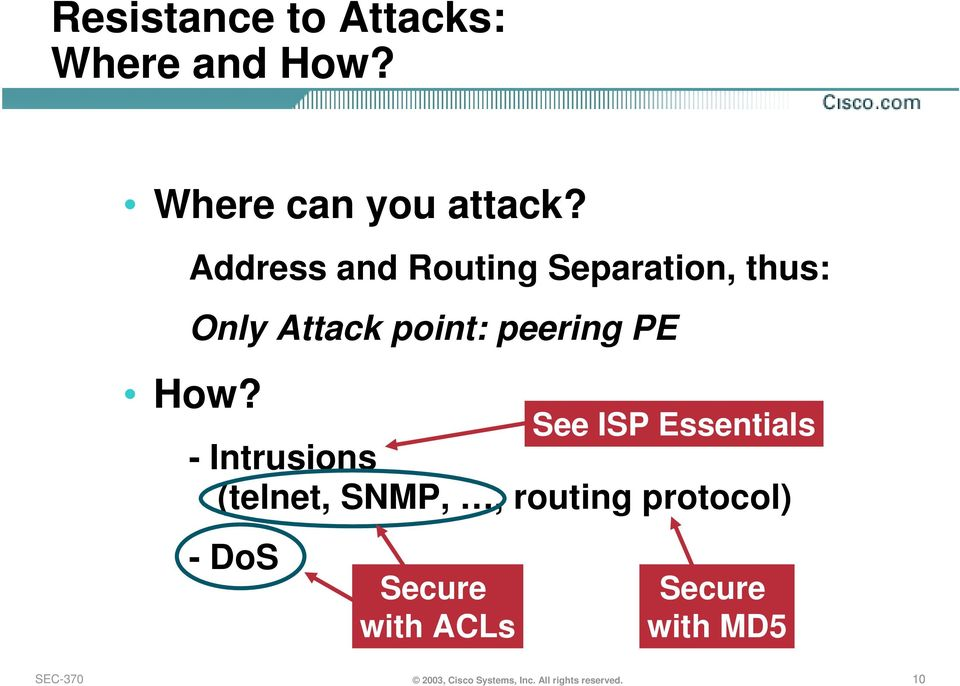 See ISP Essentials - Intrusions (telnet, SNMP,, routing protocol) -DoS