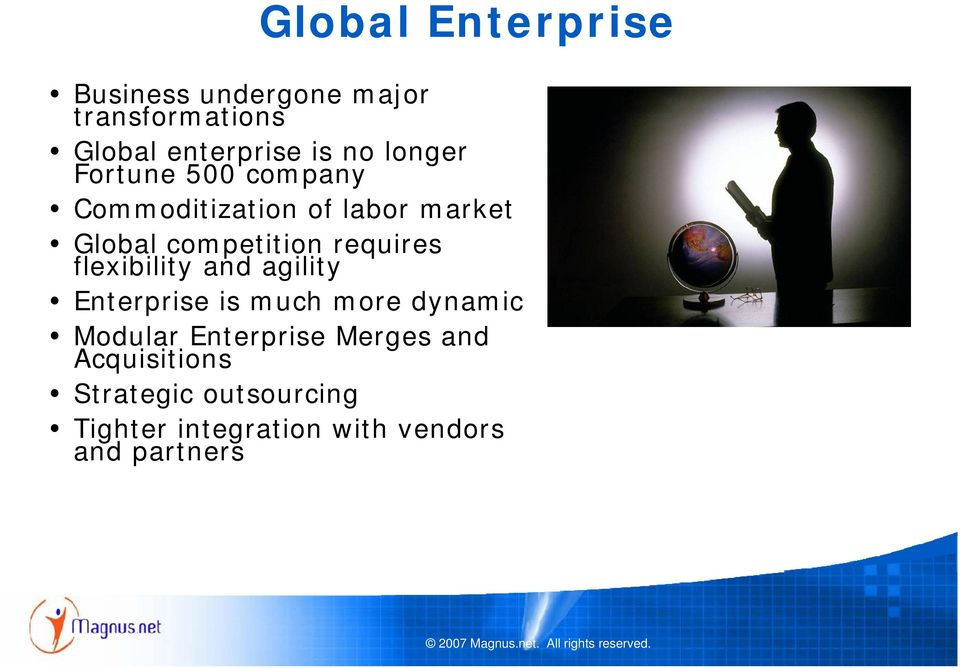 requires flexibility and agility Enterprise is much more dynamic Modular Enterprise