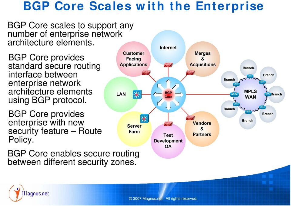 BGP Core provides standard secure routing interface between enterprise network architecture