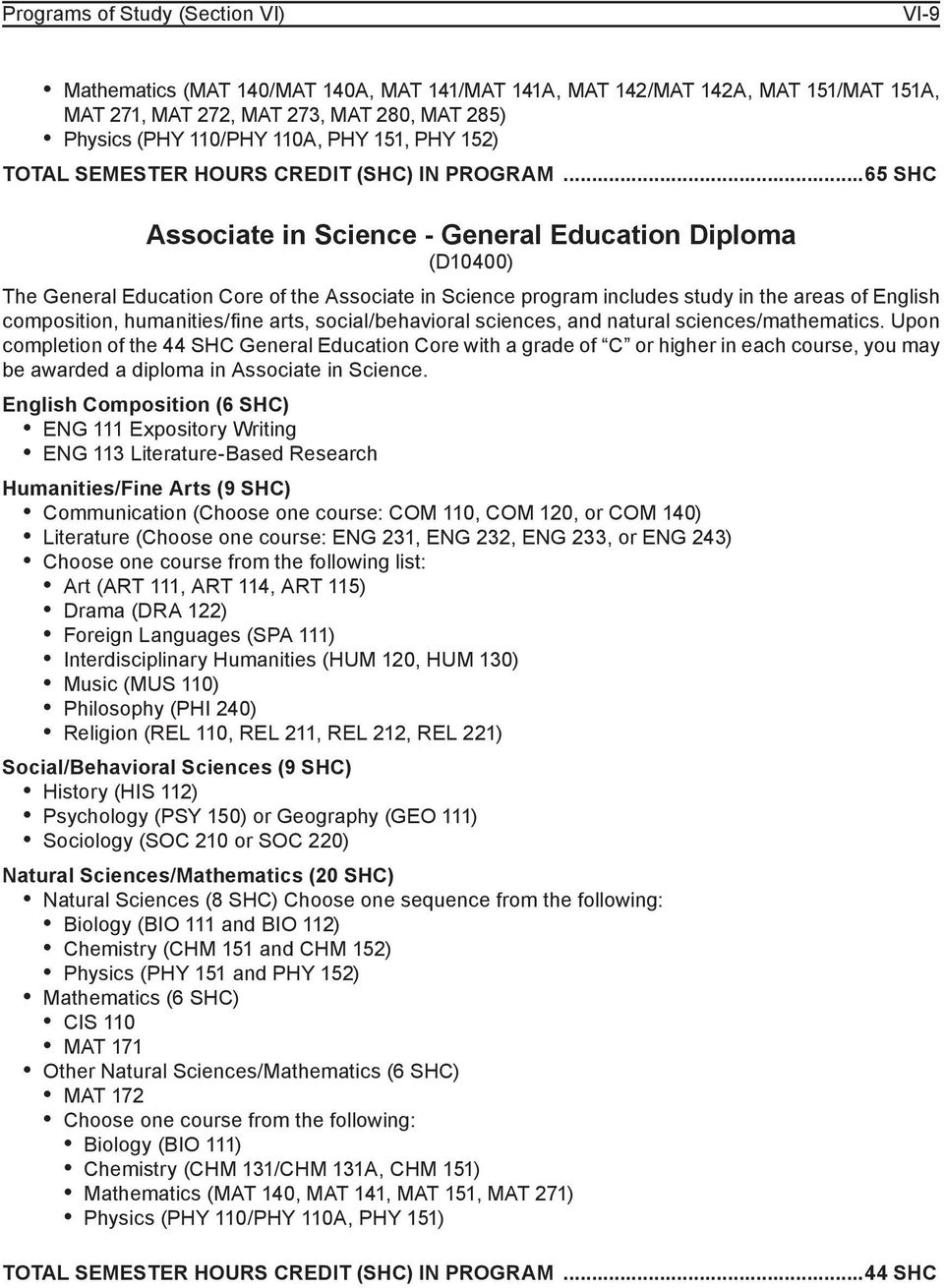 ..65 SHC Associate in Science - General Education Diploma (D10400) The General Education Core of the Associate in Science program includes study in the areas of English composition, humanities/fine
