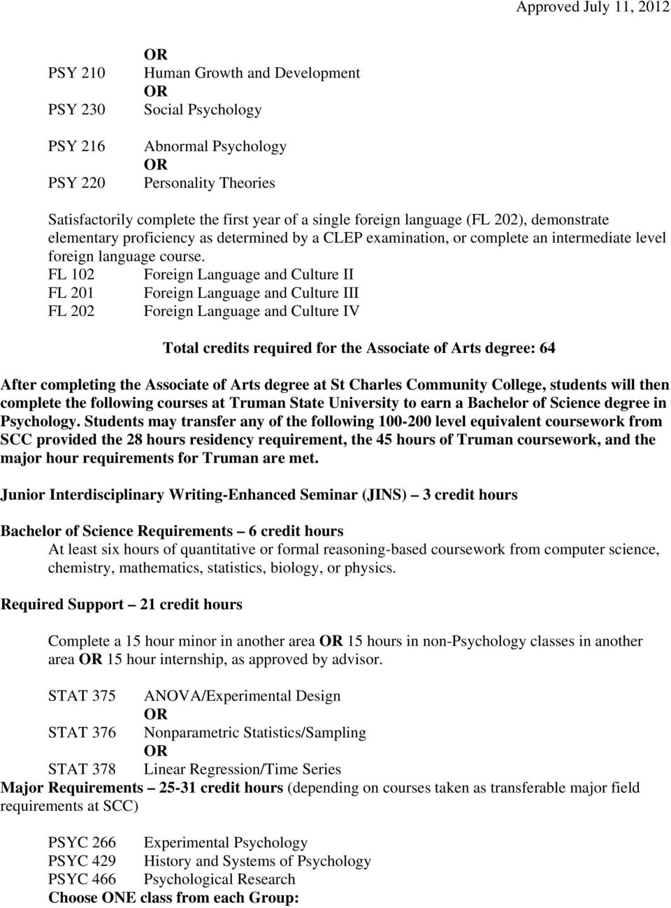 FL 102 Foreign Language and Culture II FL 201 Foreign Language and Culture III FL 202 Foreign Language and Culture IV Total credits required for the Associate of Arts degree: 64 After completing the