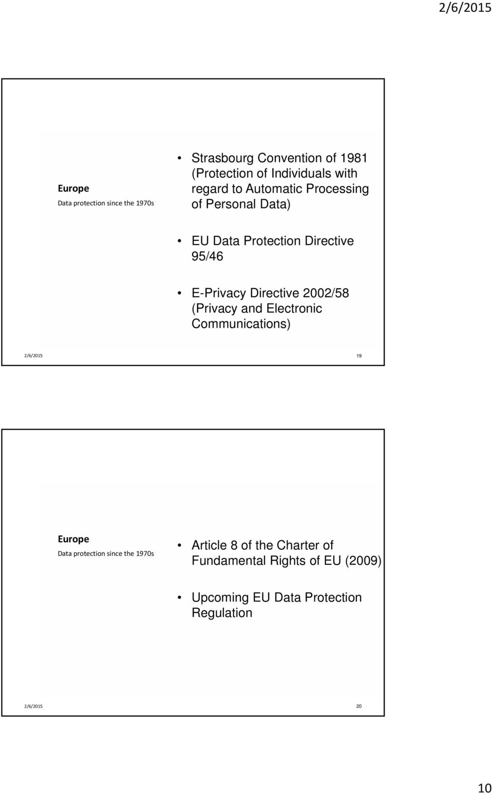Directive 2002/58 (Privacy and Electronic Communications) 19 Europe Data protection since the 1970s