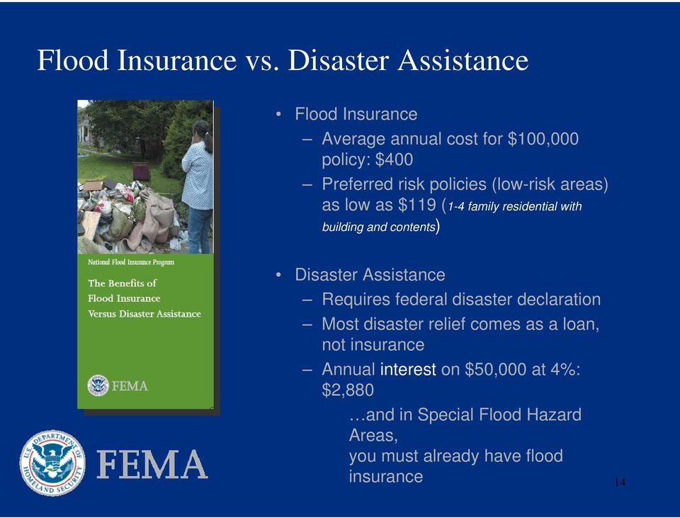 (low-risk areas) as low as $119 (1-4 family residential with building and contents) Disaster Assistance