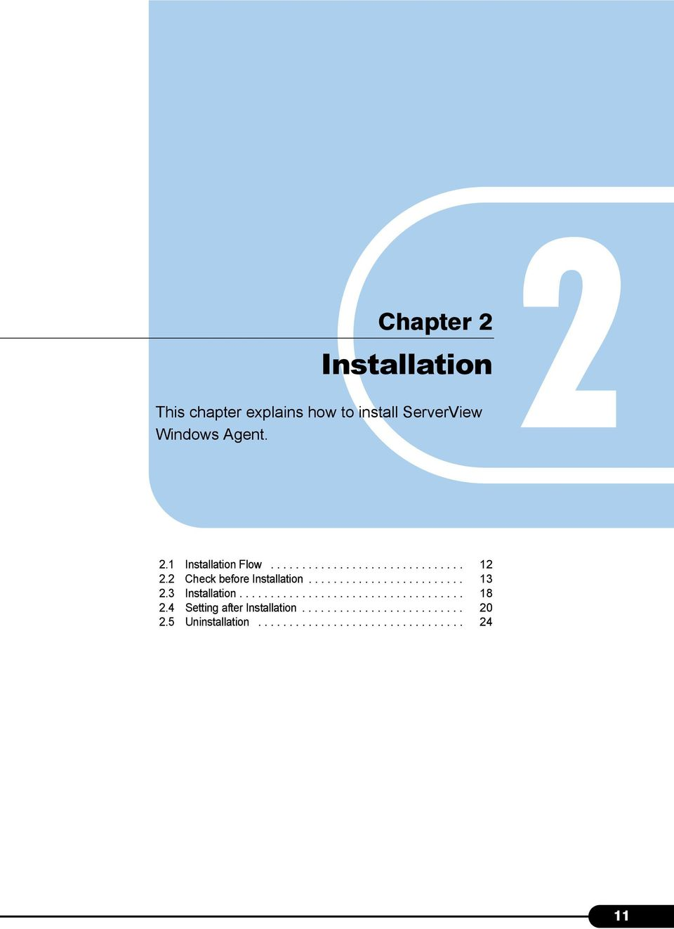 3 Installation.................................... 18 2.4 Setting after Installation.......................... 20 2.