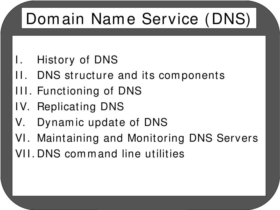 Functioning of DNS IV. Replicating DNS V.