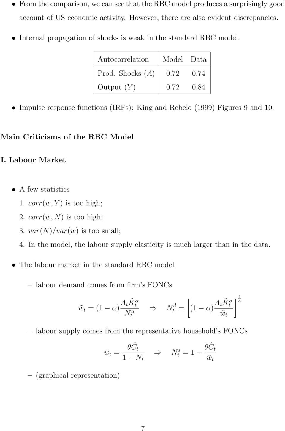 Main Criticisms of the RBC Model I. Labour Market A few statistics 1. corr(w, Y ) is too high; 2. corr(w, N) is too high; 3. var(n)/var(w) is too small; 4.