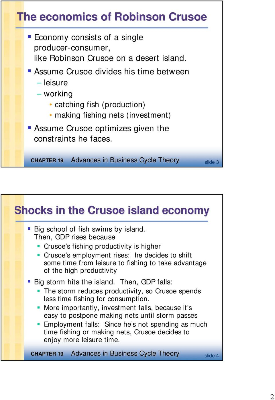 Advances in Business Cycle Theory slide 3 Shocks in the Crusoe island economy Big school of fish swims by island.