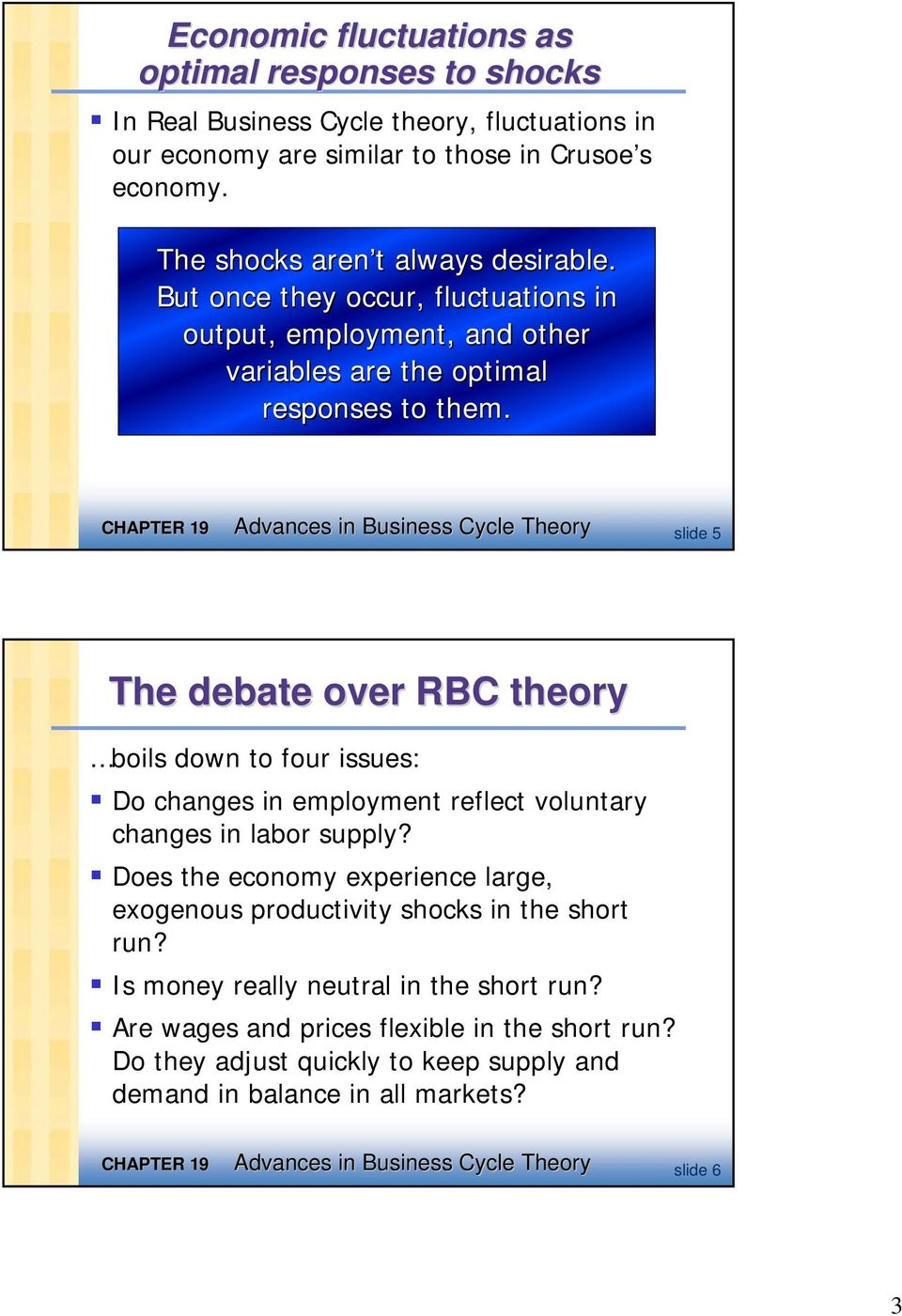 Advances in Business Cycle Theory slide 5 The debate over RBC theory boils down to four issues: Do changes in employment reflect voluntary changes in labor supply?