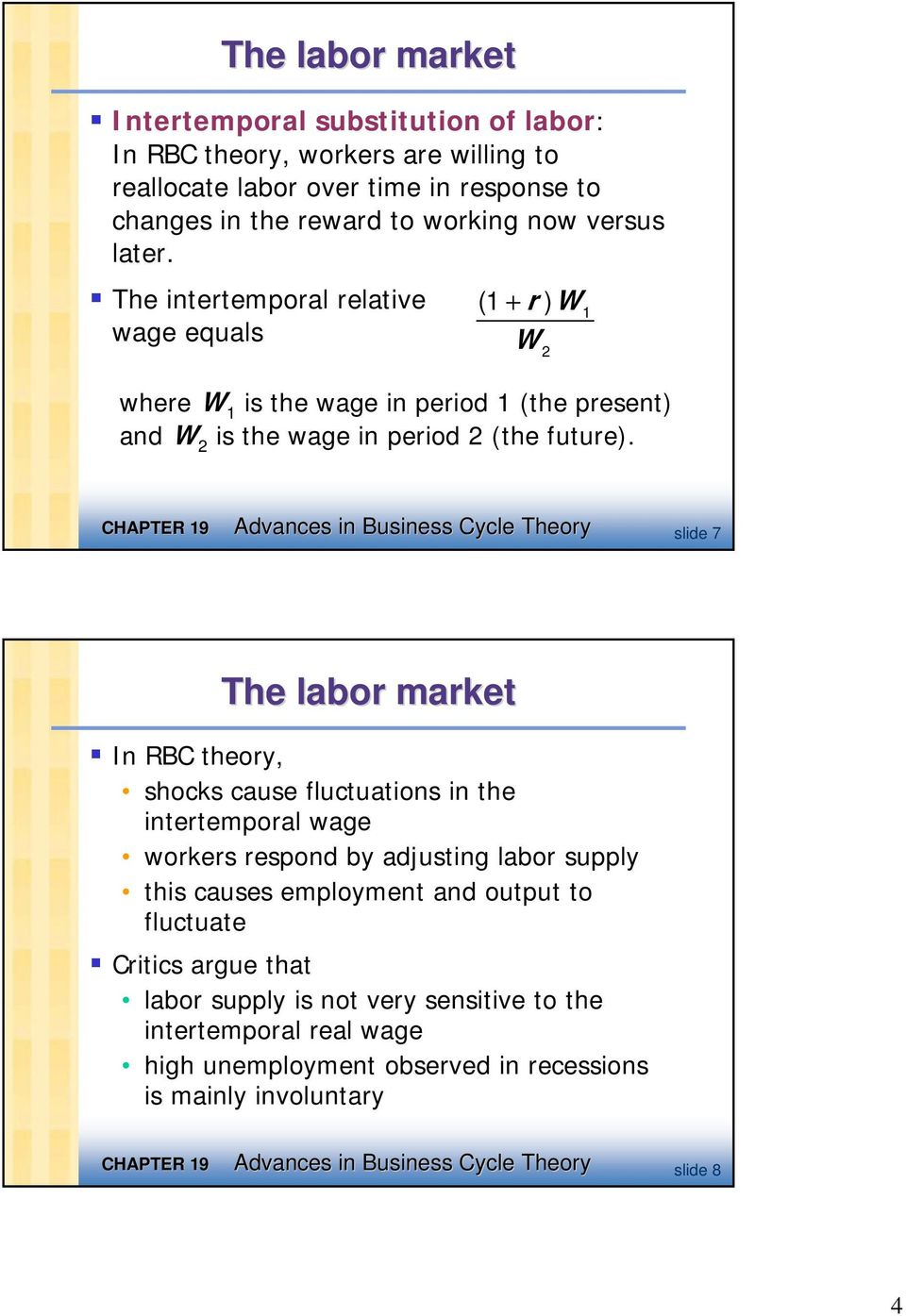 Advances in Business Cycle Theory slide 7 The labor market In RBC theory, shocks cause fluctuations in the intertemporal wage workers respond by adjusting labor supply this causes