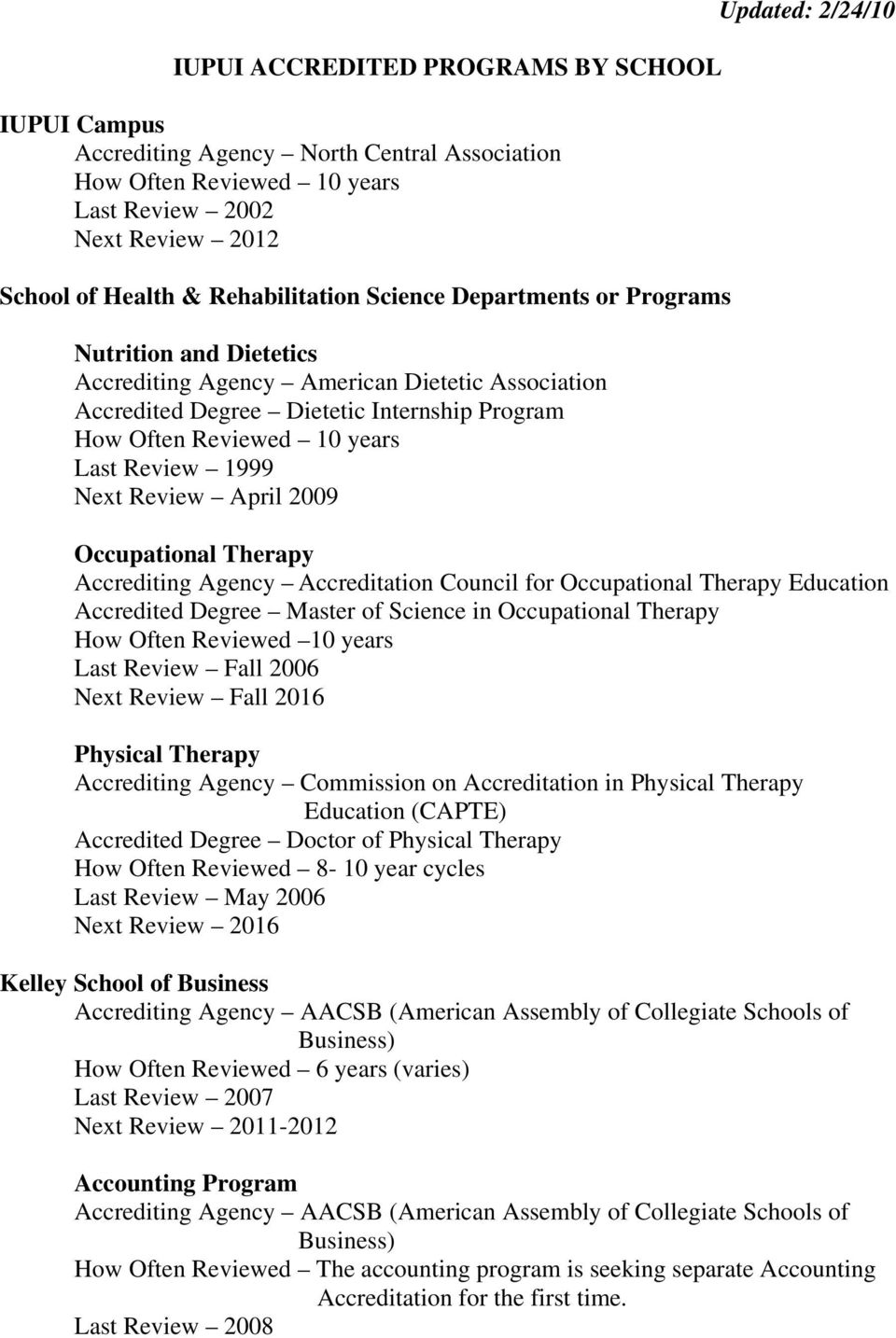 April 2009 Updated: 2/24/10 Occupational Therapy Accrediting Agency Accreditation Council for Occupational Therapy Education Accredited Degree Master of Science in Occupational Therapy How Often