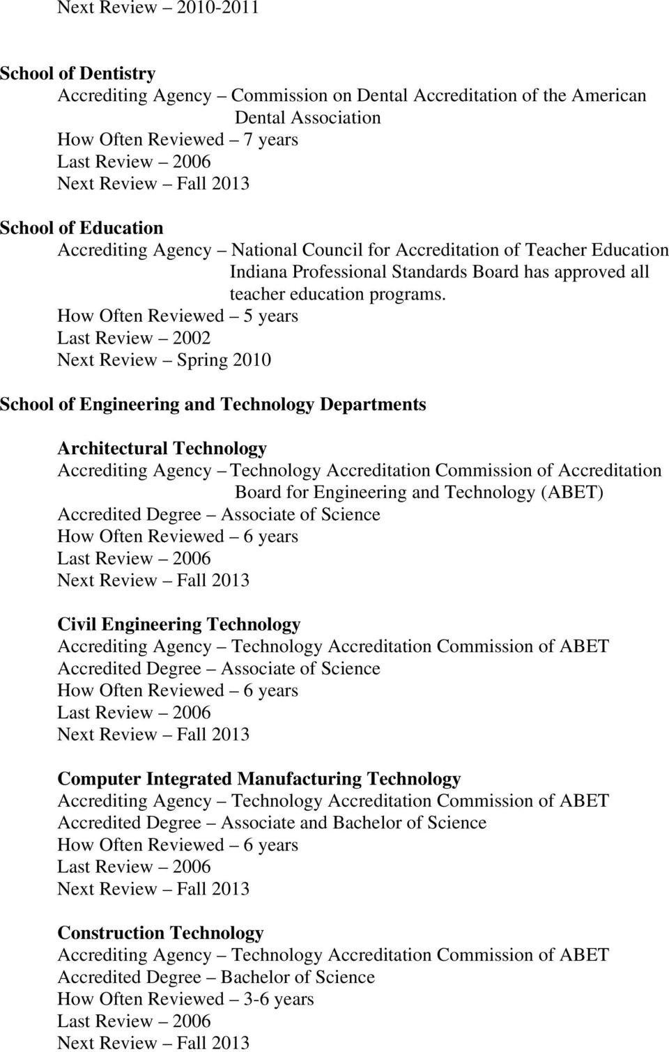 Last Review 2002 Next Review Spring 2010 School of Engineering and Technology Departments Architectural Technology Accrediting Agency Technology Accreditation Commission of Accreditation
