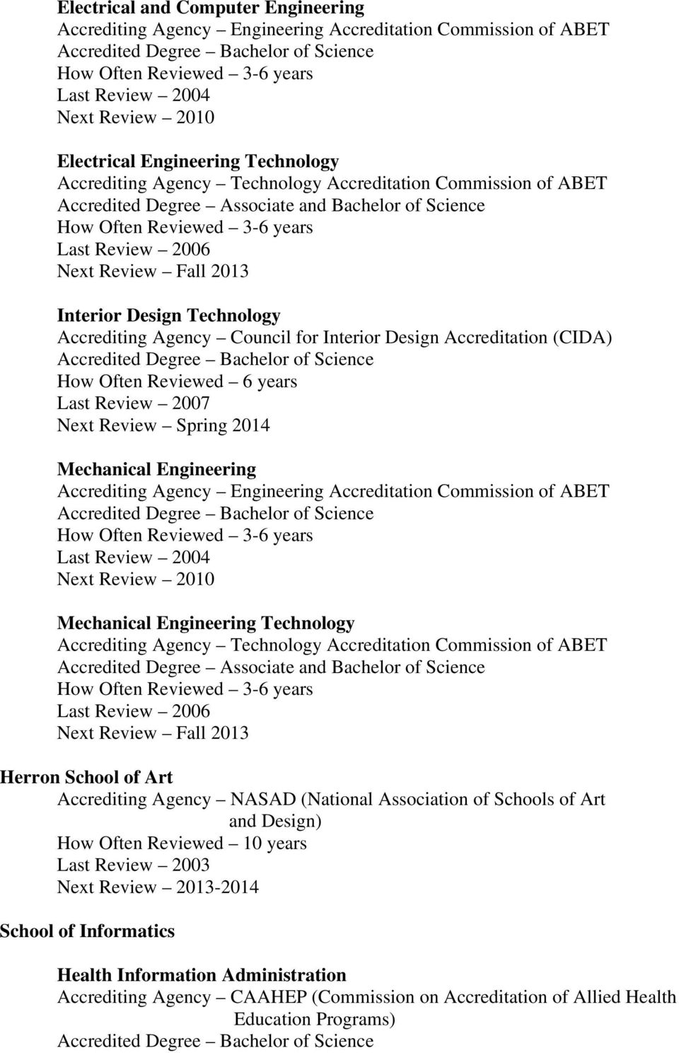 Commission of ABET Mechanical Engineering Technology Accredited Degree Associate and Bachelor of Science Herron School of Art Accrediting Agency NASAD (National Association of Schools of Art