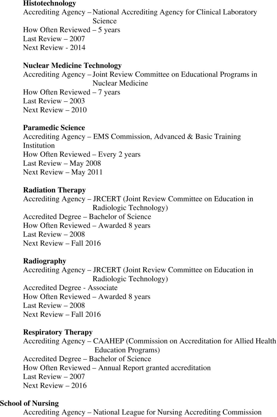 Radiation Therapy Accrediting Agency JRCERT (Joint Review Committee on Education in Radiologic Technology) How Often Reviewed Awarded 8 years Next Review Fall 2016 Radiography Accrediting Agency