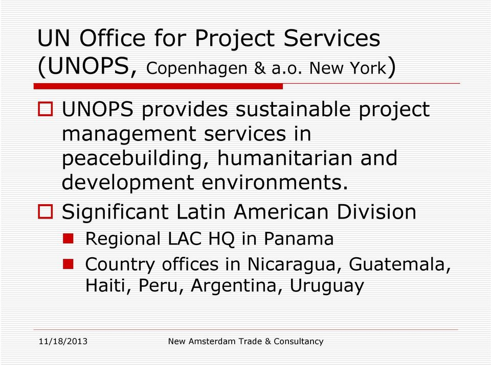 project management services in peacebuilding, humanitarian and development