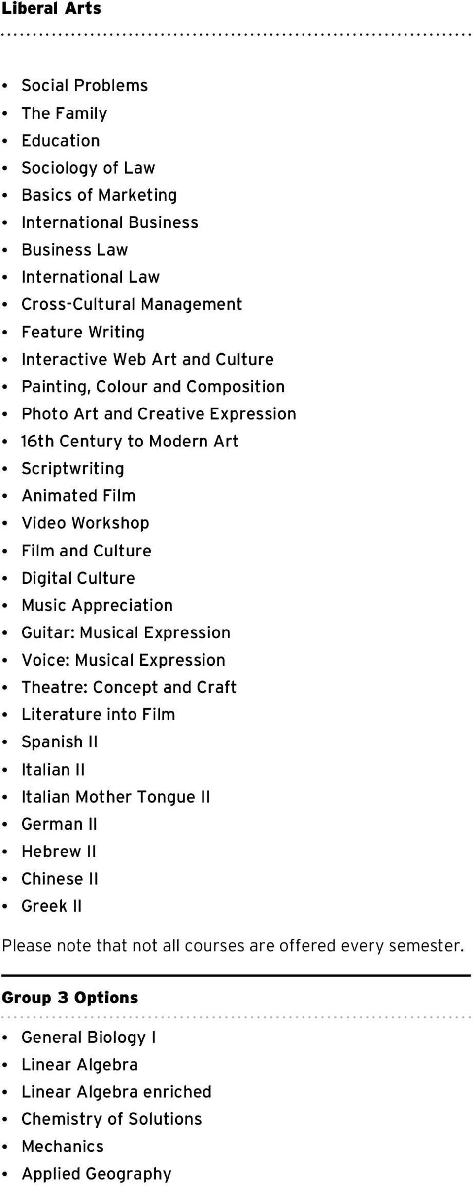 Culture Music Appreciation Guitar: Musical Expression Voice: Musical Expression Theatre: Concept and Craft Literature into Film Spanish II Italian II Italian Mother Tongue II German II Hebrew