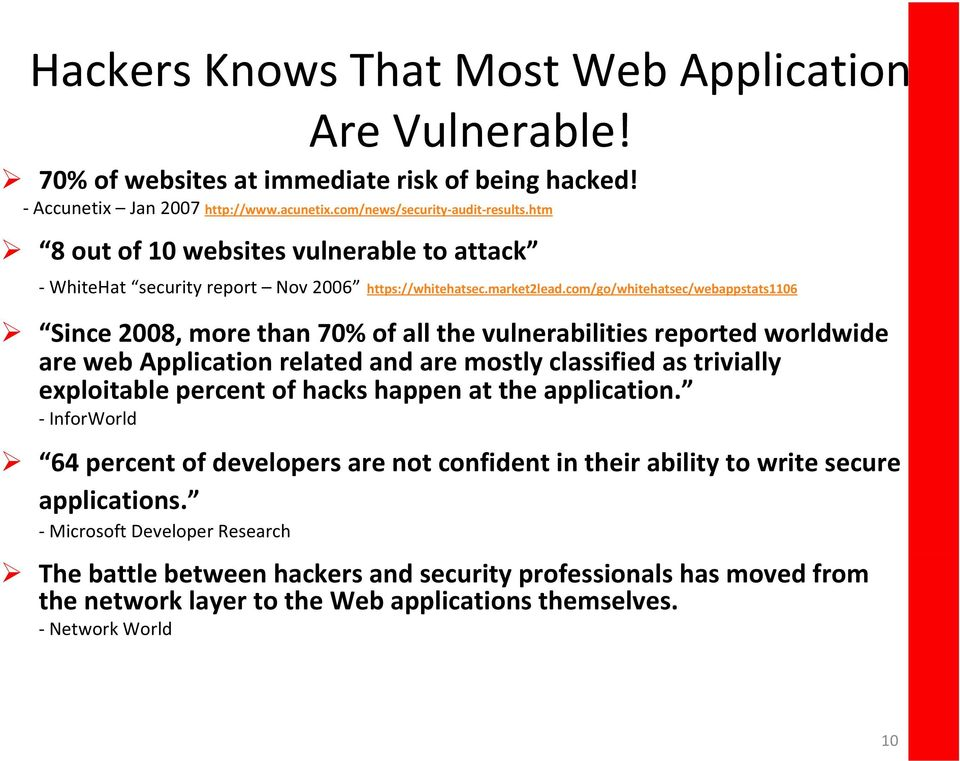 com/go/whitehatsec/webappstats1106 Since 2008, more than 70% of all the vulnerabilities reported worldwide are web Application related and are mostly classified as trivially exploitable percent of