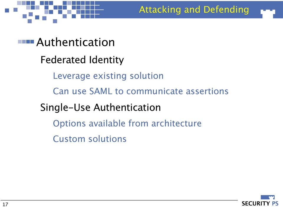 communicate assertions Single-Use Authentication