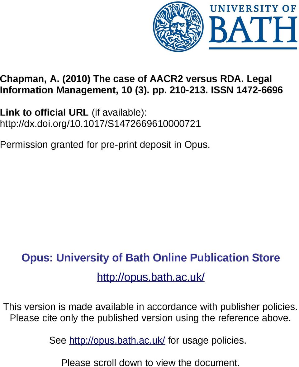 1017/s1472669610000721 Permission granted for pre-print deposit in Opus. Opus: University of Bath Online Publication Store http://opus.