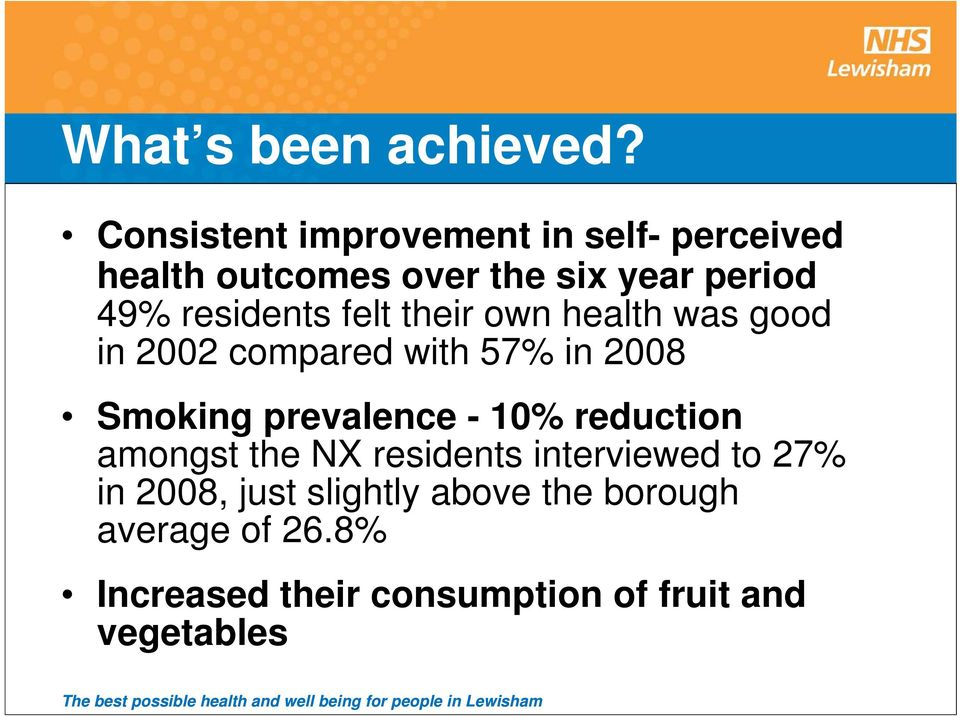 residents felt their own health was good in 2002 compared with 57% in 2008 Smoking prevalence