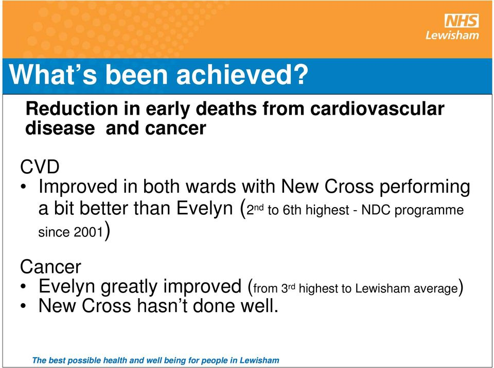 in both wards with New Cross performing a bit better than Evelyn (2 nd to 6th
