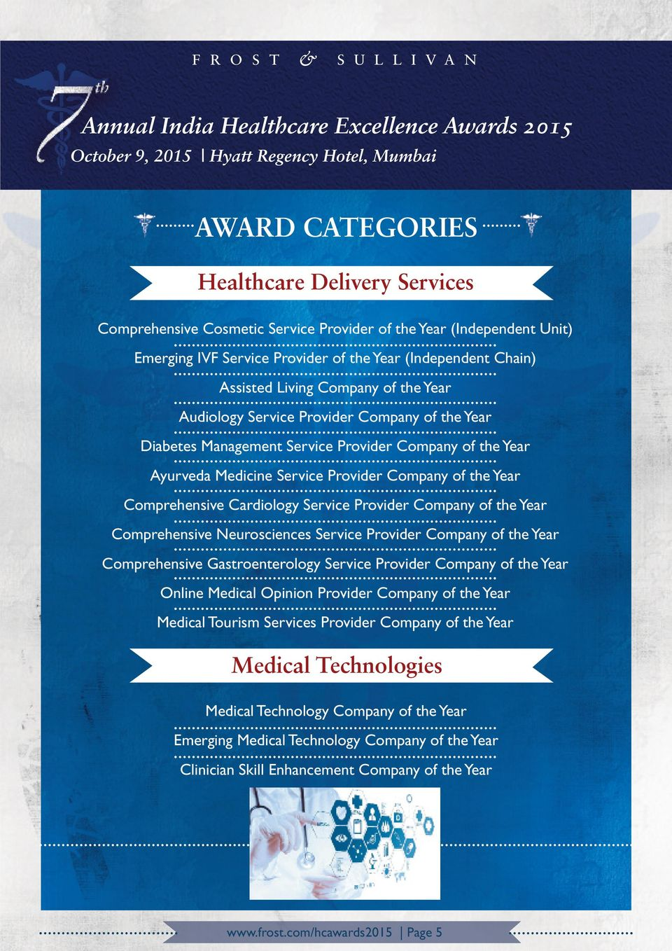 Cardiology Service Provider Company of the Year Comprehensive Neurosciences Service Provider Company of the Year Comprehensive Gastroenterology Service Provider Company of the Year Online Medical