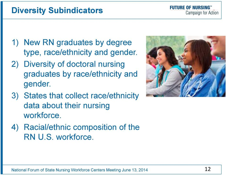 2) Diversity of doctoral nursing graduates by  3) States that collect