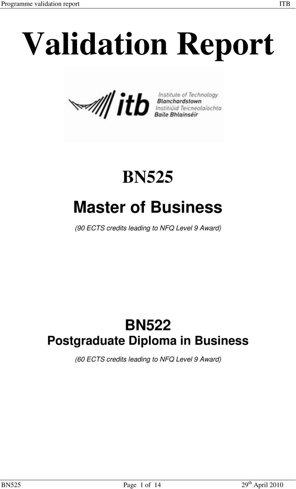 Postgraduate Diploma in Business (60 ECTS credits