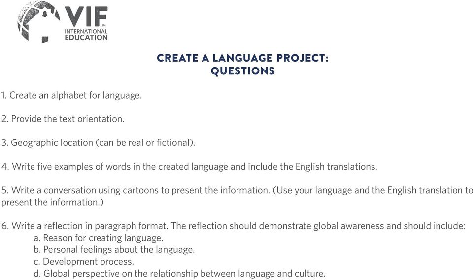 (Use your language and the English translation to present the information.) 6. Write a reflection in paragraph format.