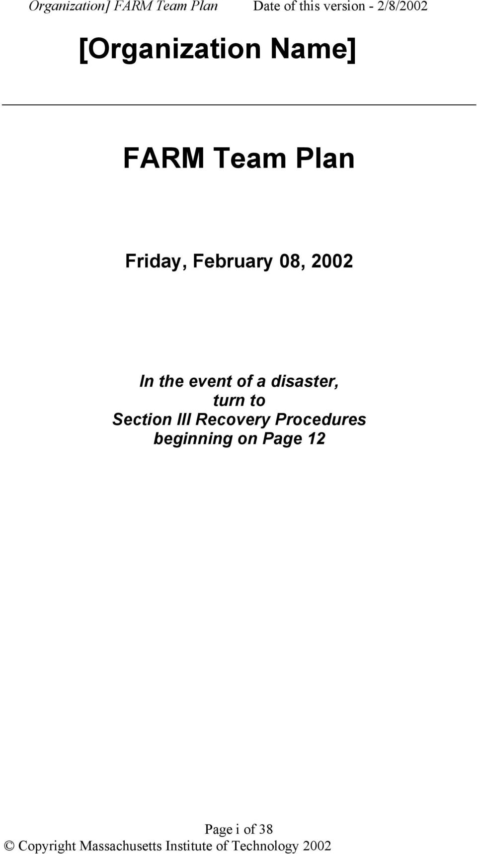 III Recovery Procedures beginning on Page 12 Page i