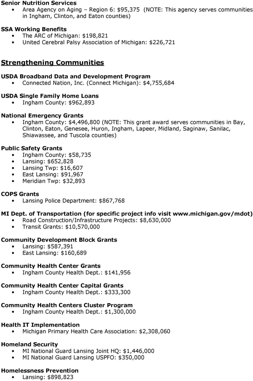 (Connect Michigan): $4,755,684 USDA Single Family Home Loans Ingham County: $962,893 National Emergency Grants Ingham County: $4,496,800 (NOTE: This grant award serves communities in Bay, Clinton,