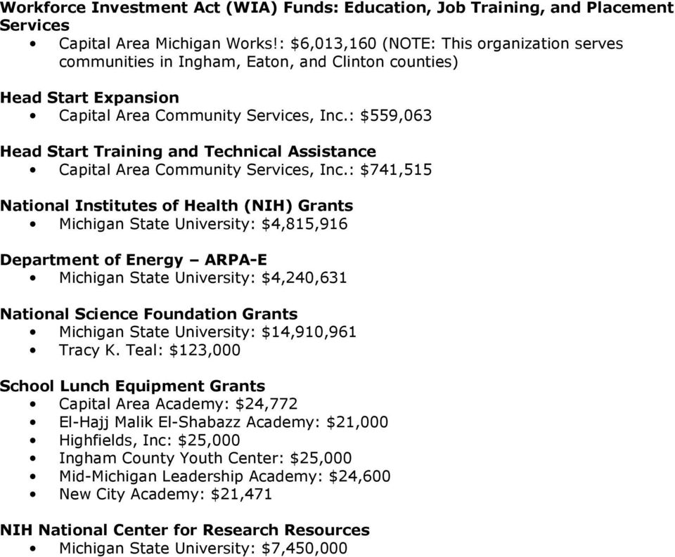 : $559,063 Head Start Training and Technical Assistance Capital Area Community Services, Inc.