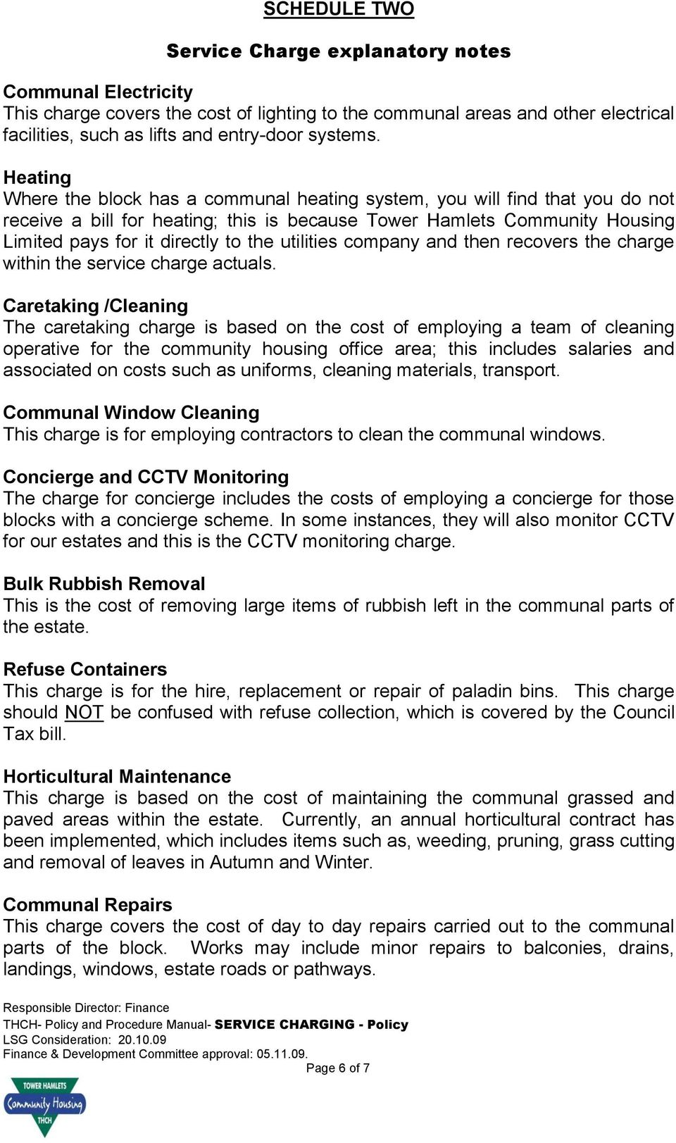 TOWER HAMLETS COMMUNITY HOUSING  SERVICE CHARGING - Policy - PDF