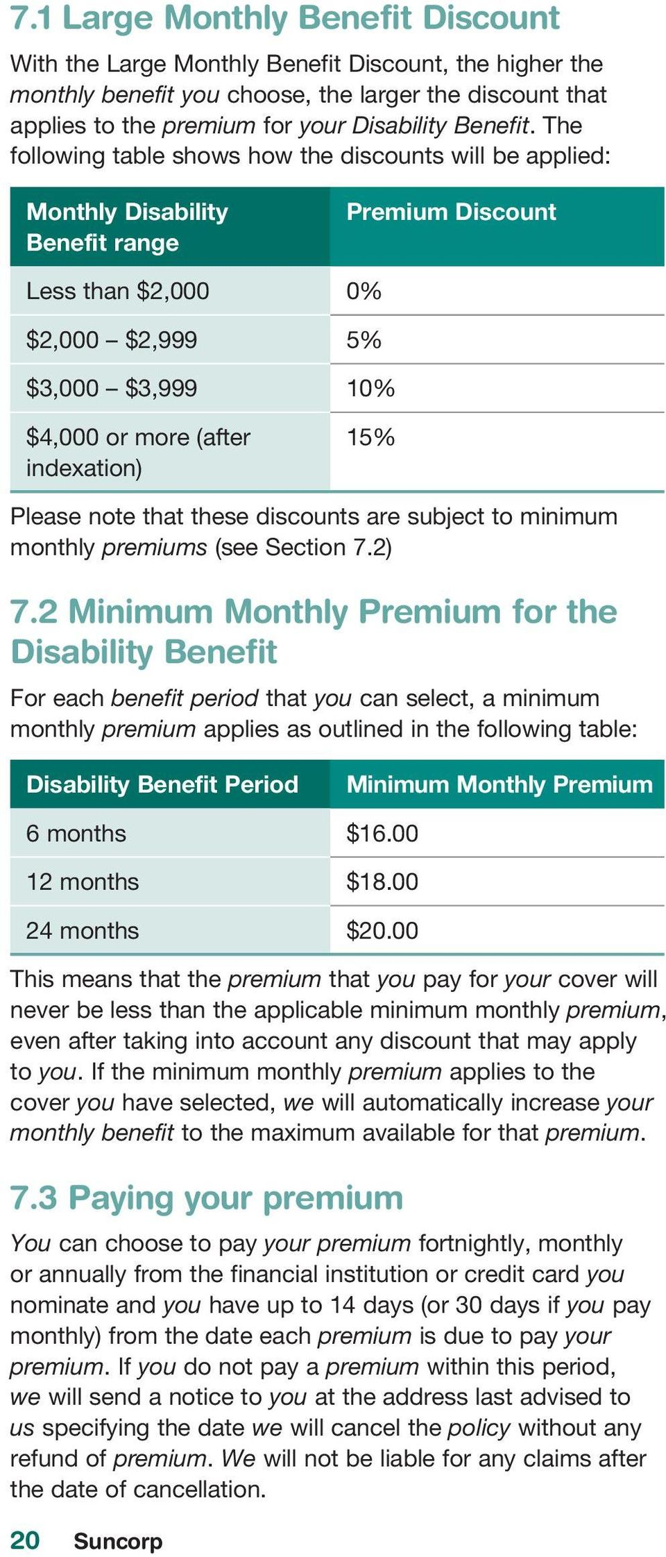 15% Please note that these discounts are subject to minimum monthly premiums (see Section 7.2) 7.