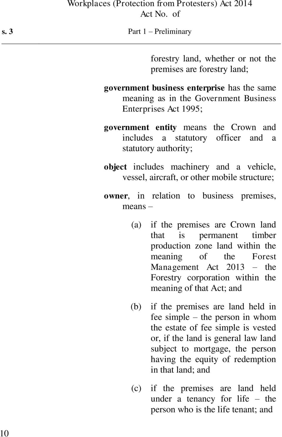 to business premises, means (c) if the premises are Crown land that is permanent timber production zone land within the meaning of the Forest Management Act 2013 the Forestry corporation within the
