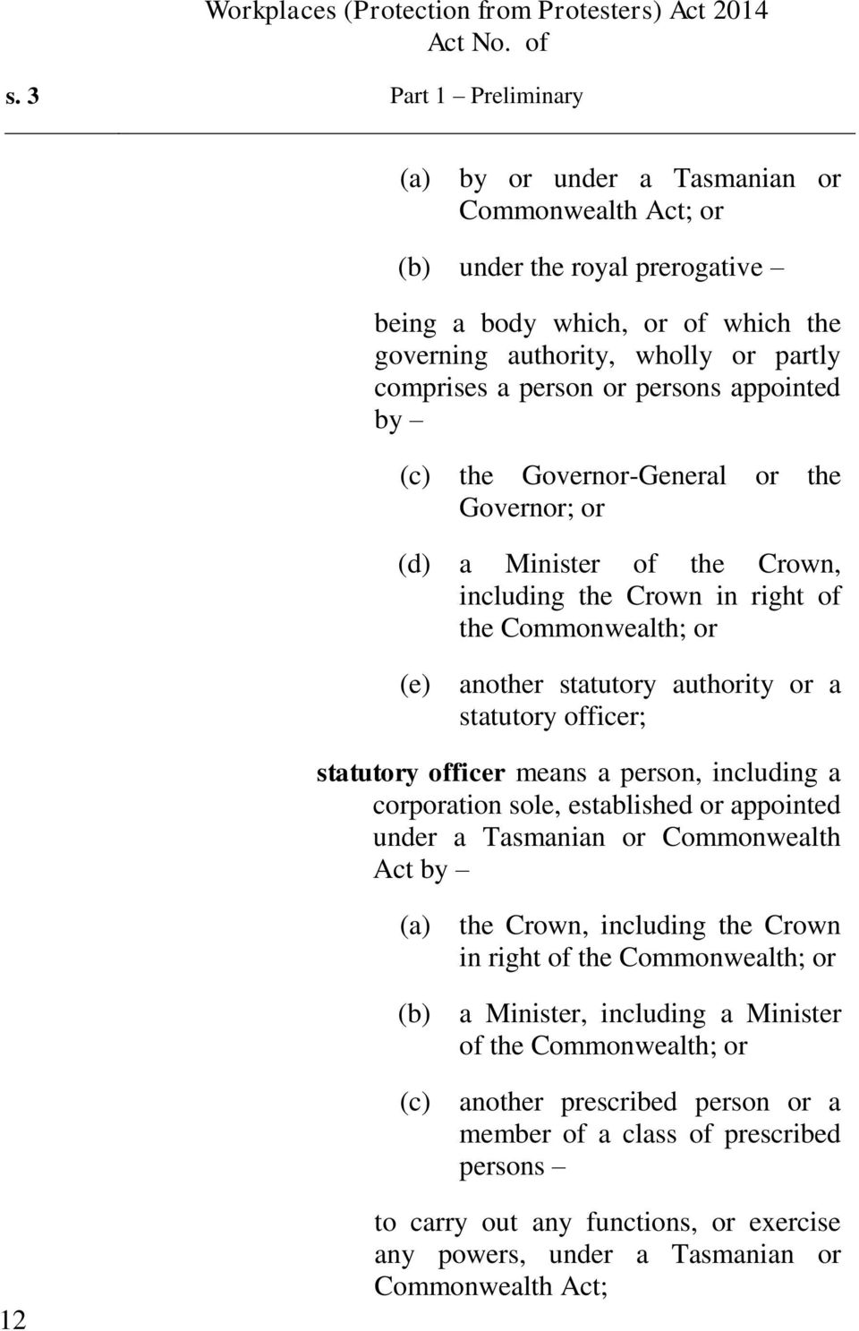officer; statutory officer means a person, including a corporation sole, established or appointed under a Tasmanian or Commonwealth Act by (c) the Crown, including the Crown in right of the