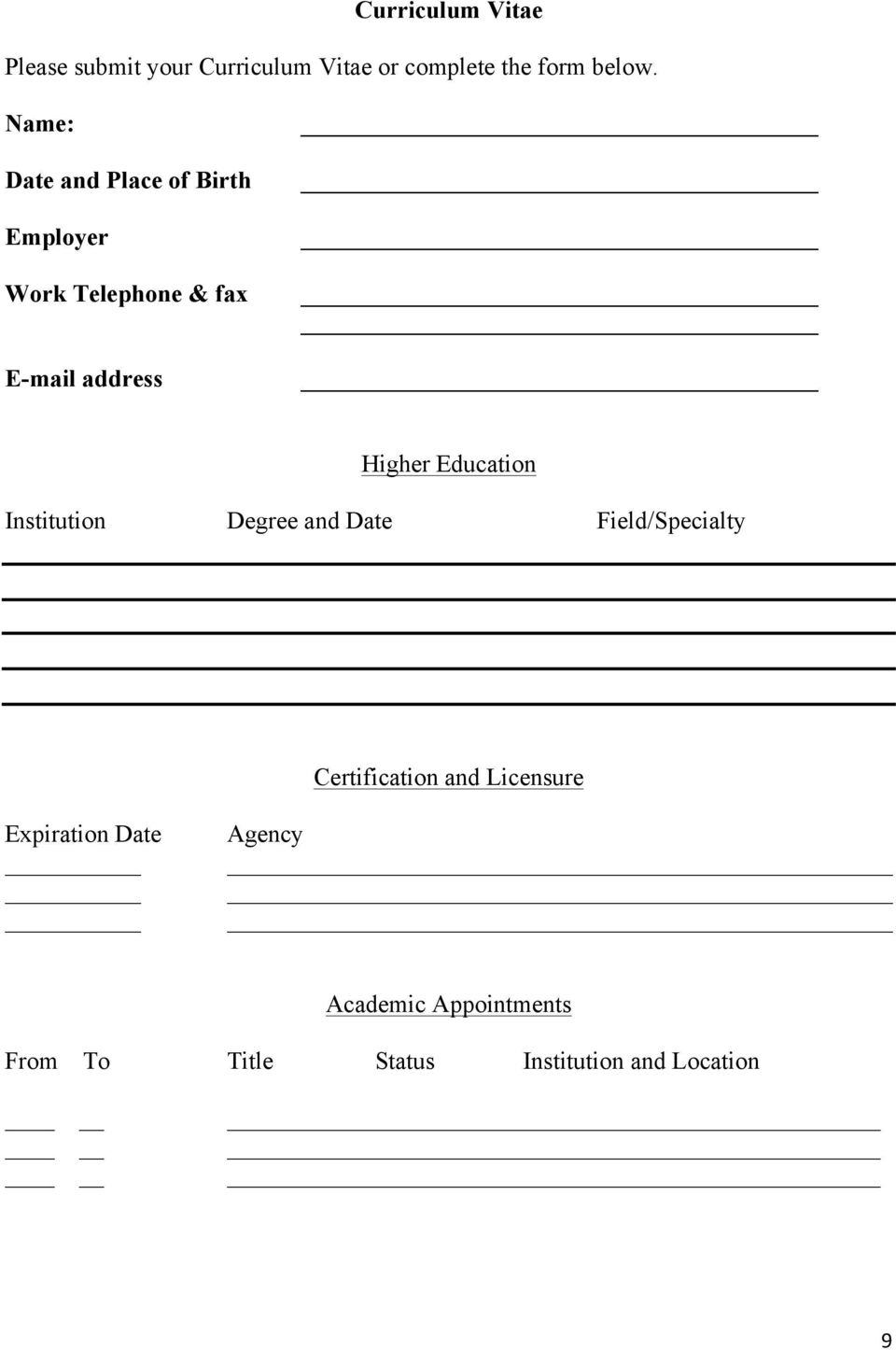 Education Institution Degree and Date Field/Specialty Certification and Licensure
