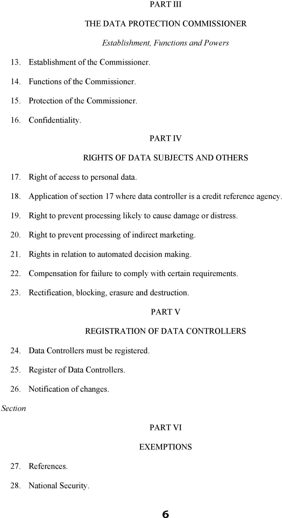 Right to prevent processing likely to cause damage or distress. 20. Right to prevent processing of indirect marketing. 21. Rights in relation to automated decision making. 22.