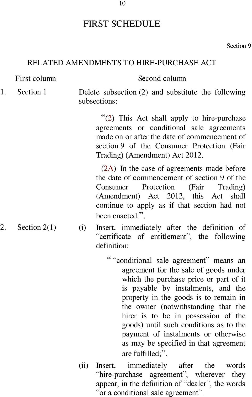 of section 9 of the Consumer Protection (Fair Trading) (Amendment) Act 2012.