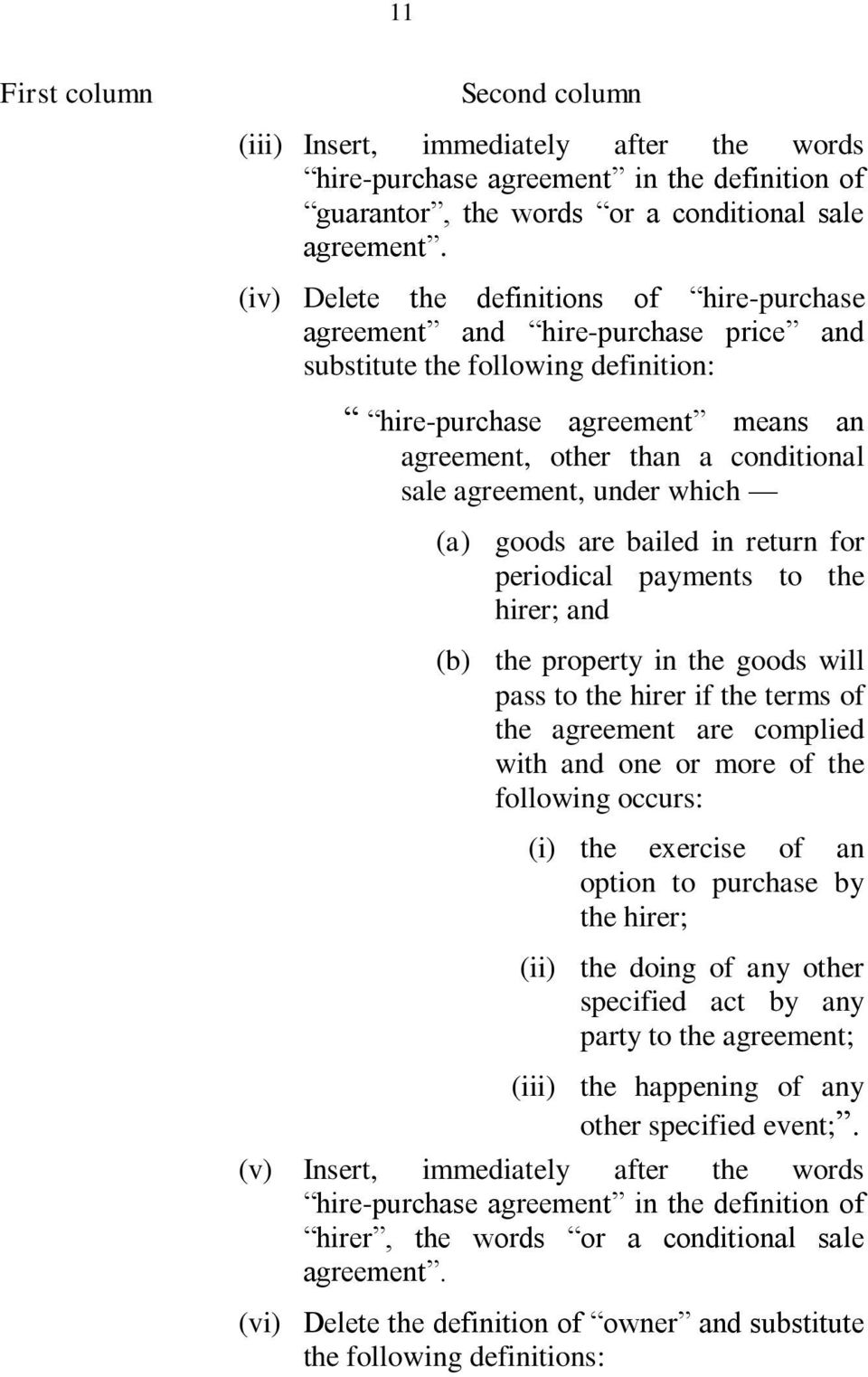 agreement, under which goods are bailed in return for periodical payments to the hirer; and the property in the goods will pass to the hirer if the terms of the agreement are complied with and one or