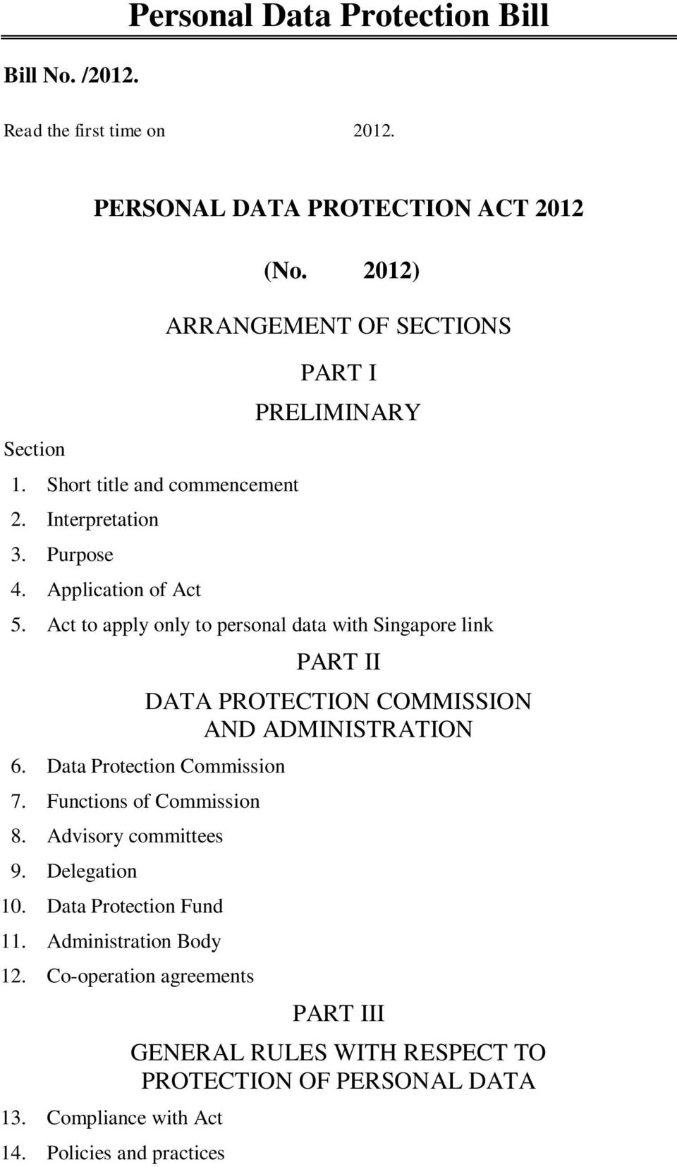Act to apply only to personal data with Singapore link PART II DATA PROTECTION COMMISSION AND ADMINISTRATION 6. Data Protection Commission 7.