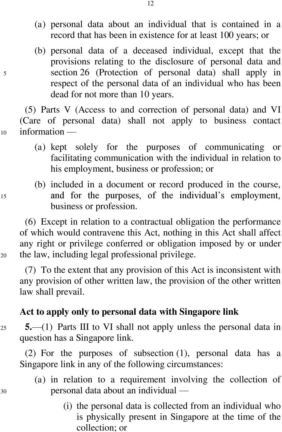 () Parts V (Access to and correction of personal data) and VI (Care of personal data) shall not apply to business contact information (a) kept solely for the purposes of communicating or facilitating