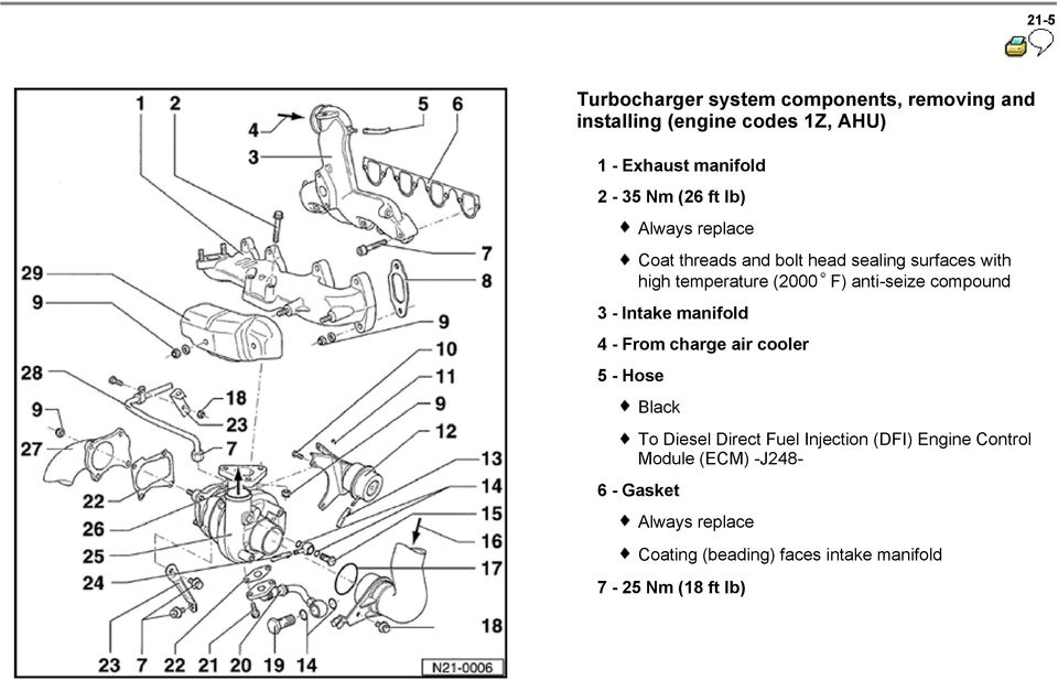 compound 3 - Intake manifold 4 - From charge air cooler 5 - Hose Black To Diesel Direct Fuel Injection (DFI)