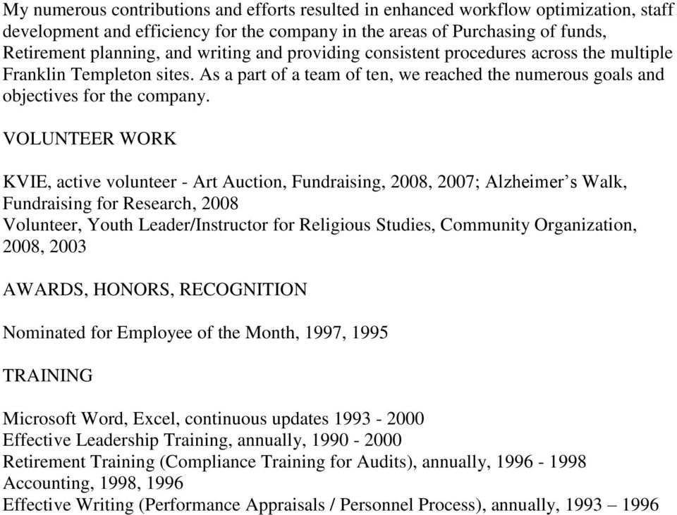 VOLUNTEER WORK KVIE, active volunteer - Art Auction, Fundraising, 2008, 2007; Alzheimer s Walk, Fundraising for Research, 2008 Volunteer, Youth Leader/Instructor for Religious Studies, Community