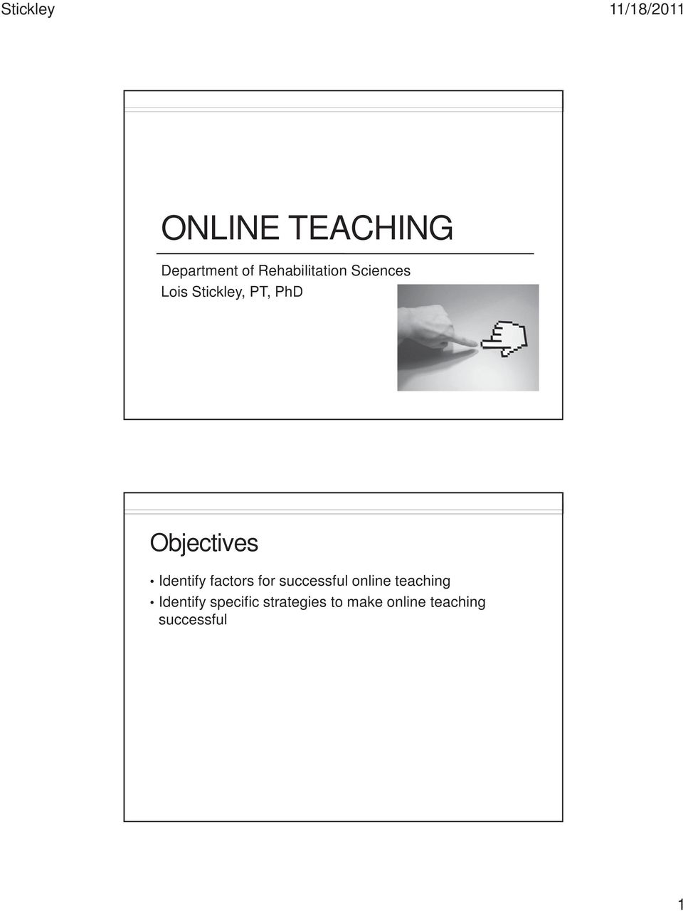 Identify factors for successful online teaching